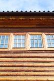 Windows of wood log house Royalty Free Stock Photo