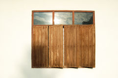 Windows wood in Thailand. Windows wood mirror Sky & cloud in Thailand Royalty Free Stock Image