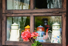 Windows of a wooden cottage Royalty Free Stock Image