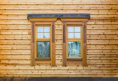 Windows of the wooden house Royalty Free Stock Photos