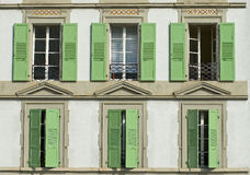 Windows with wooden shutters Royalty Free Stock Photo