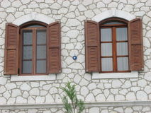 Windows  with  wooden shutters Stock Photography