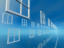 Windows Wyborowy Jaskrawy Błękitny dzień obraz stock