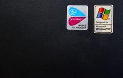 Windows XP computer. Closeup of a windows xp logo on a laptop computer Stock Images