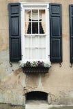 Windows y los adornos de las exhibiciones de los plantadores de las cajas de ventana aumentan arquitectura Fotos de archivo