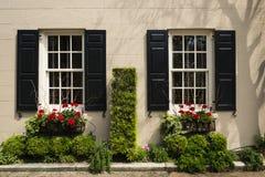 Windows y los adornos de las exhibiciones de los plantadores de las cajas de ventana aumentan arquitectura Imagen de archivo libre de regalías