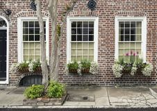 Windows y los adornos de las exhibiciones de los plantadores de las cajas de ventana aumentan arquitectura Fotografía de archivo libre de regalías