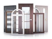 Windows y puertas en el fondo blanco stock de ilustración