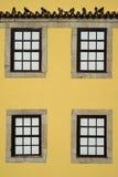 Windows on a yellow facade Royalty Free Stock Photo