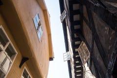 Windows an York-heillosem Durcheinander, mittelalterliche Straße Lizenzfreie Stockfotos