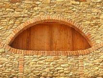 Windows-Ziegelsteinrahmen und geschlossenes Fenster in der alten Wand Lizenzfreie Stockfotos
