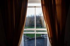 Windows zum Garten lizenzfreie stockbilder