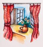 Windowsill con las cortinas y la flor rojas Imagen de archivo