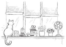 Windowsill with home love objects and cute cat.Hand drawn sketch Stock Photos