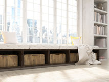 Windowsill seat side. Sideview of interior design with windowsill seat, bookshelves and city view. 3D Rendering royalty free stock image