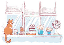 Free Windowsill With Home Love Objects And Cute Cat.Hand Drawn Color Stock Photos - 72003173