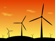 Windpark ilustracja przy zmierzchem Obrazy Stock