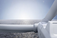 Windpark with ocean. And sun over the horizon Stock Image
