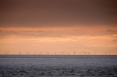 Windpark. A park of Wind turbines at sea Stock Image