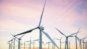 Windparkturbinen gefangen im Sonnenunterganghimmel Schöner Kontrast mit dem Himmel Ökologisches Konzept Wiedergabe 3d lizenzfreie abbildung
