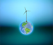Windpower Earth. Wind power Earth on dark green blue  Some elements provided courtesy of NASA Stock Photo