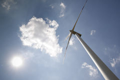 Windpower with sun Stock Images