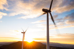 Windpower sunset Stock Image