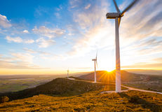 Windpower sunset Stock Images