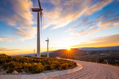 Windpower sunset Royalty Free Stock Images
