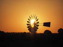 Windpump in the Cape at sunset, South Africa Stock Images