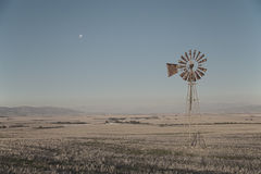 Windpump and moon Royalty Free Stock Photography