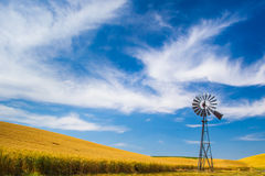 Windpump. Multi-Bladed Wind Powered Pump in the Palouse Region of Washington State Royalty Free Stock Photo