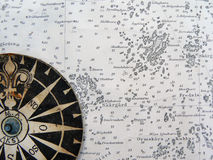 Windroos op uitstekende kaart Royalty-vrije Stock Foto