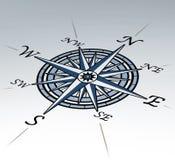 Windroos in perspectief op witte achtergrond Stock Afbeelding