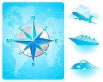 Windroos, wereldkaart & eigentijds vervoer Stock Fotografie