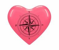 WINDROSE é situado no centro do coração vermelho Imagens de Stock