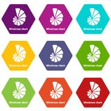 Windrose chart icons set 9 vector. Windrose chart icons 9 set coloful isolated on white for web Royalty Free Stock Images