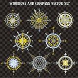Windrose en Kompasvector voor van de Kaartbouwer en cartografie vectorillustraties wordt geplaatst die stock illustratie