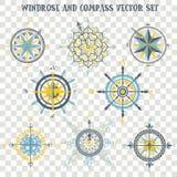 Windrose en Kompasvector voor van de Kaartbouwer en cartografie vectorillustraties wordt geplaatst die vector illustratie