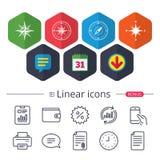 Windrose navigation icons. Compass symbols. Stock Image