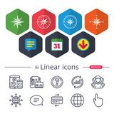 Windrose navigation icons. Compass symbols. Stock Images