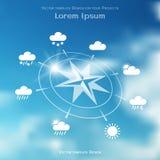 Windrose und vier Jahreszeiten verwittern Ikonen auf unscharfem Himmelhintergrund Stockfoto