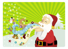 Winds of Christmas. Santa clause blowing magically the winds of christmas Royalty Free Stock Photography
