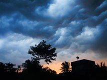 Winds with Dark Clouds before thunder at urban lan Royalty Free Stock Photography