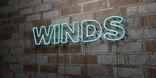 WINDS - Glowing Neon Sign on stonework wall - 3D rendered royalty free stock illustration. Can be used for online banner ads and direct mailers Royalty Free Stock Photography