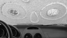 Windscreen автомобиля, который замерли внутри взгляда Стоковые Фото