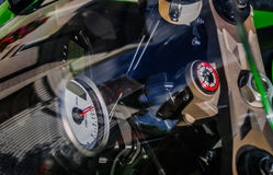 Windscreen. Motorcycle instruments and windscreen reflections Royalty Free Stock Image