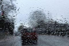A windscreen with rain drops Stock Photo