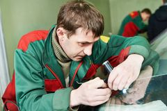 Windscreen repair examination Royalty Free Stock Photography
