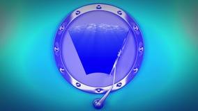Windscreen wiper on porthole, underwater 4K. Seamless loop. 3D animation in 4K resolution stock video